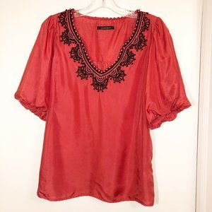 Anthr Silk Embroidered Coral Short Sleeve Top Sz M